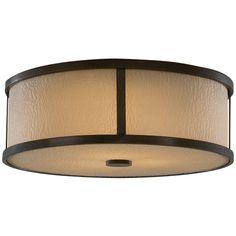 Feiss Lighting Modern Flushmount Light with Amber Glass in Heritage Bronze Finish | FM334HTBZ | Destination Lighting