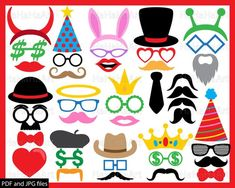 Glasses and Mustaches - Clipart / Cutting Files svg png jpg digital graphic desi. Bow Tie Party, Haha, Wedding Hats, Photo Booth Props, Pattern And Decoration, Digital Stamps, Sell On Etsy, Design Bundles, Clip Art