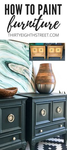 How To Paint Furniture With Pure & Original Paint. Refinishing Furniture Tips and Tricks! Furniture Before and Afters. Furniture Paint for Refinishing Old Furniture. Lots of Furniture Makeover Ideas! Green Nightstands. Green Painted Furniture. #pureandoriginal #paintedfurniture #refinishedfurniture #furniturerefinishing #furniturepainting #furnituremakeover #nightstands #diy #homedecor #modern