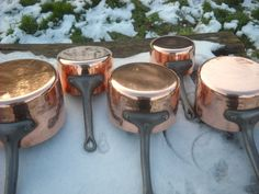 Set of Five 3mm Hammered Vintage French Copper Professional Sauce Pans or Pots by NormandyKitchen