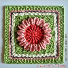 Laurel's /place crochet block designed by Jessica Phillips called Roadside Flower.