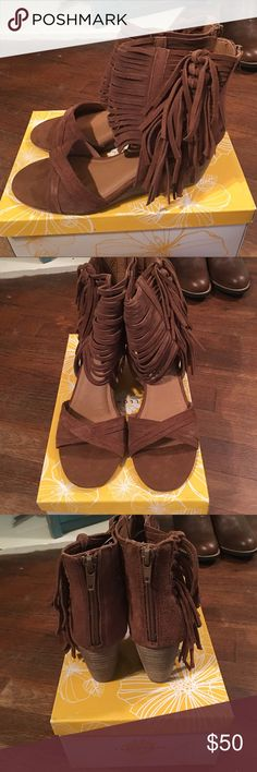 Yellow Box fringe sandals NWT Brown very soft fringe sandal, zips in the back of ankle Yellow Box Shoes Sandals
