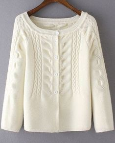 cable knit scoop neck long sleeve cardigan white one sizefit size xs to m - PIPicStats Long Sweaters For Women, Cardigans For Women, Cardigan Pattern, Knit Cardigan, Raglan Pullover, Cardigan Fashion, Knitting Designs, Knitting Patterns, Crochet Patterns