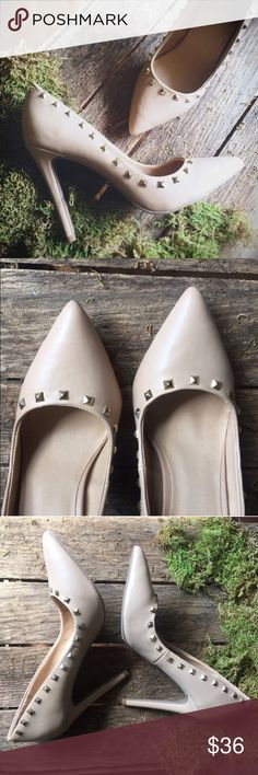 """Just Fab Nude Studded Heels Nude heels with gold studs surrounding the opening with a pointed toe finish. Minor wear to the bottom and heel as pictured. Heel height 5"""" JustFab Shoes Heels"""