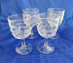 """4 EAPG Richards & Hartley """"Lily of the Valley"""" goblets by tlgvintageart on Etsy"""