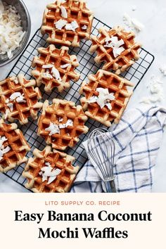 Overripe bananas aren't just for banana bread. Make these Easy Banana Coconut Mochi Waffles instead for a tasty easy breakfast (great for freezing! Quick Easy Desserts, Delicious Desserts, Dessert Recipes, Brunch Recipes, Summer Recipes, Yummy Treats, Easy Recipes, Breakfast Recipes, Mochi Waffle Recipe