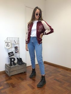 Bomber Bordô Flowers Shop Now, Punk, Outfits, Shopping, Style, Fashion, Online Thrift Store, Women's Work Fashion, Swag