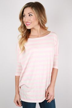 PIKO Striped Tee Pink | Impressions Online Women's Clothing Boutique