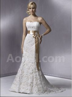 Trumpet Mermaid Strapless Sweep Train Backless Satin Lace Wedding Gown