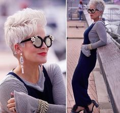 White Pixie Haircut, Are you looking for a way to simplify your beauty routine, keep away the grays or just give yourself an instant facelift? Short Grey Hair, Short Hair Cuts, Short Hair Styles, Haircut Styles For Women, Haircut For Older Women, Pixie Hairstyles, Pixie Haircut, Haircut Short, Chic Over 50