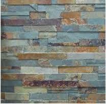split face slate tiles - chimney breast