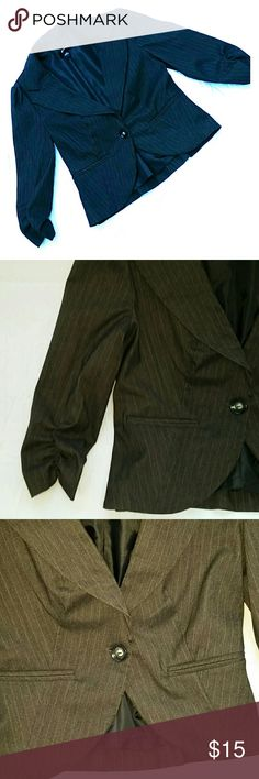 Jacket This is an adorable little compliment to any style. Comes down to the hips, has one button closure  in front. Two pockets that are still sewn shut.  There is a gather on sleeves to make it more 3/4 length sleeve. Jacket was never worn.  It's black with a little pinstripe. B wear Jackets & Coats Blazers