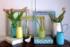 Spray painted frames and Mason jars.