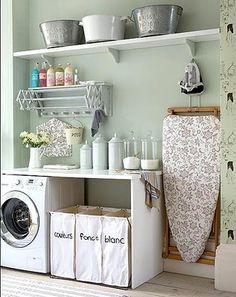 a little french country style in the laundry room. love the canisters and wash buckets on top the shelf. I would also hang an old farm ladder from the ceiling to hang hanger clothes from Basement Laundry, Laundry Area, Laundry Room Organization, Small Laundry Rooms, Laundry Room Storage, Bathroom Storage, Small Rooms, Small Spaces, Laundry Room Design