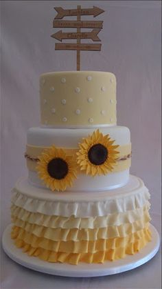 - * A country/rustic themed wedding cake with sugar sunflowers and yellow ombre ruffles. This cake only shade from yellow to orange to red instead of white to yellow Sunflower Birthday Parties, Yellow Birthday Cakes, Sunflower Party, Sunflower Cakes, 16 Birthday Cake, Country Birthday Cakes, Themed Wedding Cakes, Wedding Cakes With Cupcakes, Cupcake Cakes