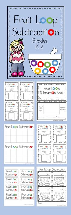 Math Subtraction For K and First Grade Printables and Task Cards Fruit Loops and Subtraction! If your students need a motivation for learning subtraction then [. Math Subtraction, Subtraction Activities, Kindergarten Math Activities, Homeschool Math, Fun Math, Math Resources, Math Games, Teaching Math, Numeracy