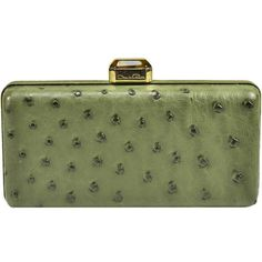 Pre-owned Classic Oscar de la Renta Ostrich Clutch ($1,395) ❤ liked on Polyvore featuring bags, handbags, clutches, handbags and purses, ostrich handbags, oscar de la renta, oscar de la renta purse, green handbags and green purse