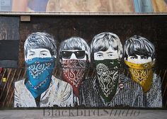 Bandannas over Famous Faces -    Street Art , London Photograph, limited edition print. Mr Brainwash. graffiti in London