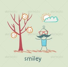 Man Stands Next to a Tree on Which Grow Smilies ...  art, cartoon, cartoons, cheerful, concepts, drawing, emoticon, emotions, expression, face, facial, feelings, fruit, grow, happiness, human, ideas, illustration, illustrations, isolated, man and smile, painting, people, sign, smiley, smiling, symbol, tree, vector, yellow