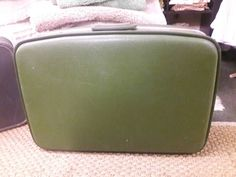 Vintage retro hipster luggage suitcase green by SalvageAngelByTheSea on Etsy