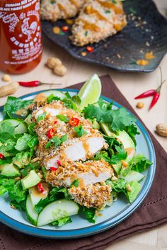 Crispy Baked Thai Peanut Sauce Coated Chicken - This looks awesome and easy!
