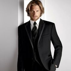 For the guys...the groom will wear an ivory tie and vest with a black shirt