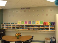 Achieve (inspiration and the bottom is cubbies for each student with backpack hooks below from Little Lovely Leaders: Classroom Complete! Student Cubbies, Classroom Cubbies, Classroom Tools, New Classroom, Classroom Setting, Classroom Setup, Classroom Design, Kindergarten Classroom, Classroom Organization