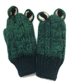 6748cd1f32d Baby Gap Gloves M L Green Blue Frog Cable Knit Mittens Kids Boys Girls New   Gap