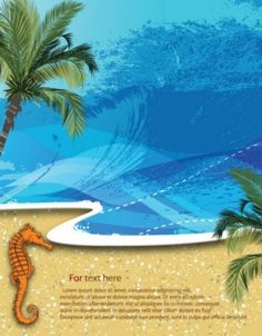 Free vector summer beach background palm