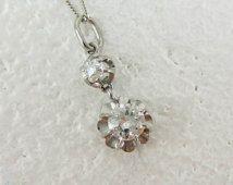 Antique Diamond Pendant. Double Diamond Drop in Buttercup Style Setting with Old European Cut Diamond & Cushion Cut Diamond in White Gold.