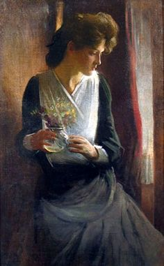 Contemplation - Woman Looking Right by John White Alexander American artist 1856-1915 -