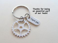 """employee appreciation ideas Employee Appreciation Gifts """"Thank You"""" Tag & Silver Gear Keychain by JewelryEveryday w/ """"Thanks for being an essential part of our team! Volunteer Appreciation Gifts, Appreciation Message, Volunteer Gifts, Employee Gifts, Gifts For Employees, Team Gifts, Coach Gifts, Coffee Gifts, Candy Gifts"""
