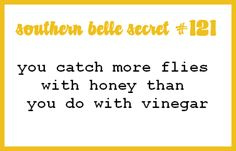 Southern Belle Secret #121: You catch more flies with honey than you do with vinegar
