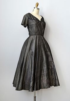 1950s Vintage Dress | vintage 1950s grey sharkskin party dress