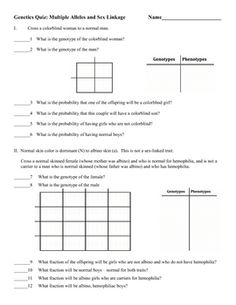Worksheets Monohybrid And Dihybrid Crosses Worksheet student crosses and squares on pinterest genetics quiz multiple alleles sex linkage i use this as a quiz