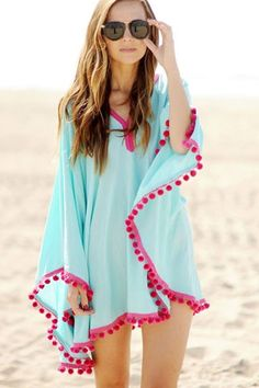 Perfect piece to throw over your favorite bikini this summer! This casual cover up features V shape neckline, long sleeves, fringe trim decor, and soft touch fabric.