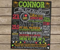 Fall themed Pumpkin 1st Birthday Chalkboard Poster Sign by CustomChalkPosters
