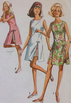 Vintage Open Side Dress and Shorts Sewing Pattern