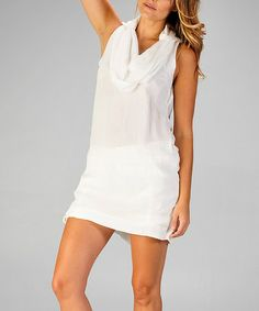 Another great find on #zulily! #Off-White #Sheer #CowlNeck #Dress #zulilyfinds