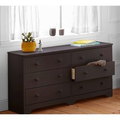 6 Drawer Dresser Double Espresso Wood Storage Drom Furniture Bed Room Clothes…