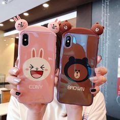 Cony and Brown Bear Glossy silicone case for iPhone XR XS Max X 8 7 6 Plus