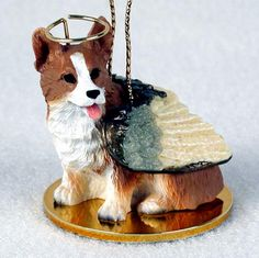 Welsh Corgi Pembroke Dog Figurine Angel Statue Ornament