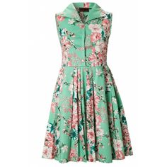 Vixen 50s Summer Bouquet Swing Dress (€50) ❤ liked on Polyvore featuring dresses, vestidos, casual dresses, robes, night out dresses, trapeze dresses, swing dress, day party dresses and day summer dresses