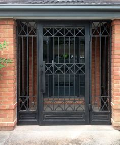 Keep the whole world at bay with a reliable and effective looking security door that clearly sets the entry standards. The finest in Melbourne wrought iron. Wrought Iron Security Doors, Steel Security Doors, Wrought Iron Fences, Wrought Iron Doors, Craftsman Front Doors, Iron Gate Design, House Outside Design, Window Grill Design, Front Door Design