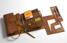 Handsewn Leather Personal Organizer on a three ring binder concept