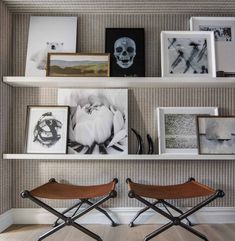 A selection of art from the clients' personal collection and the Thom Filicia Home Collection for Wendover Art. The benches are Sedgwick & Brattle by Thom Filicia and the gray wall covering is by Phillip Jeffries. #art #artwall #gallerywall