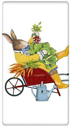 Wheelbarrow Rabbit Easter 100% Cotton Flour Sack Dish Towel Tea Towel