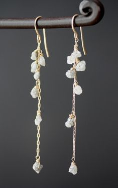 Rough Diamond Cascade Earrings- 14kt gold- wedding- long- raw natural diamond- silver. $255.00, via Etsy.