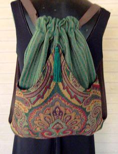 Backpack Tapestry And Green Stripe Upholstery Boho Backpack Boho Slingbag Renaissance Backpack Chenille Backpack Backpacks