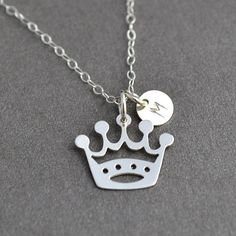 Princess Necklace, Initial Crown Necklace, Silver Crown Necklace, Gift for Daughter, Crown Charm, Custom Initial Necklace by malizbijoux. Explore more products on http://malizbijoux.etsy.com